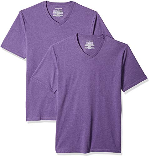 Amazon Essentials Men's 2-Pack Slim-Fit V-Neck T-Shirt, Purple Heather, X-Large