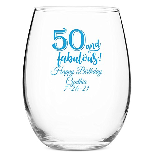 48 Pack Personalized Color Printed 15 Ounce Stemless Wine Glass - 50 (Fifty) and Fabulous - Blue by All Gifts