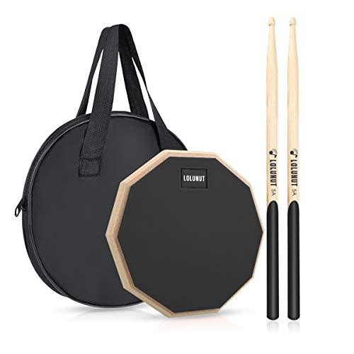 LOLUNUT 8 Inch Silent Drum Pad, Dumb Drum Beginner Rubber Practice Pad, with 5A Drum Sticks (8 Inch-Black)