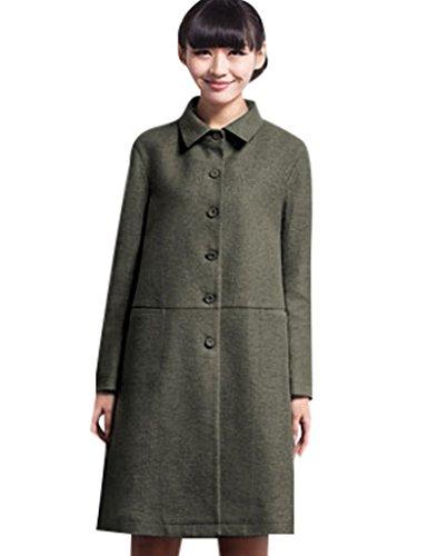 28e251736a8b Youlee Damen Revers Einreiher Mantel mit Taschen Grün L  Amazon.de   Bekleidung