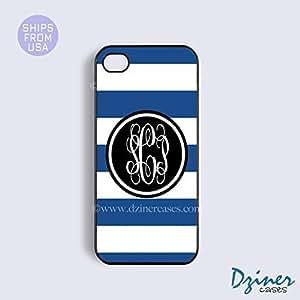 LJF phone case Monogrammed iPhone 5c Case - Blue White Stripes Black Circle iPhone Cover