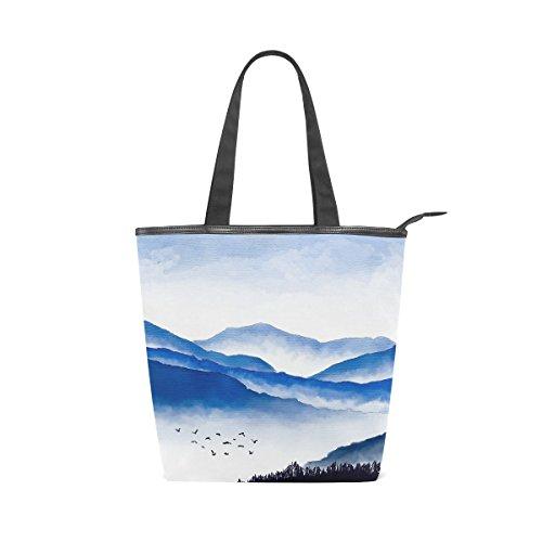 Bag Shoulder Womens MyDaily Mountains Watercolor And Canvas Tote Handbag Birds qEgqtU