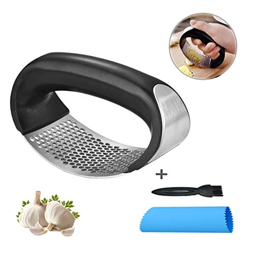 (Garlic Press Stainless Steel Garlic Mincer Garlic Peeler Set Garlic Crusher Chopper with Handle Safe Kitchen Tool Easy to Use and Clean)