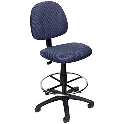 Pemberly Row Fabric Upholstered Office Drafting Stool in Blue by Pemberly Row