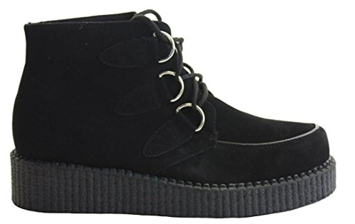Ladies Womens Girls Beetle Crushers Brothel Creepers Retro Funky Lace Flat Boots Wedge Heel Gothic Punk Shoes Size Black sf3FPxxQ