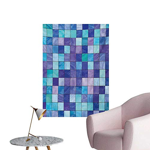 Anzhutwelve Navy and Teal Wallpaper Stained Glass Inspired Design Checkered Pattern Dreamy Fantasy Colors ShadesMulticolor W32 xL48 Poster Paper
