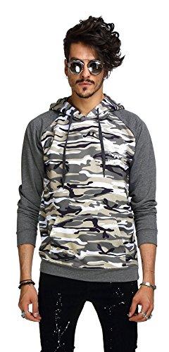 Whatlees Mens Long Sleeve Camouflage Splicing Pullover Hoodie B236-Grey-S