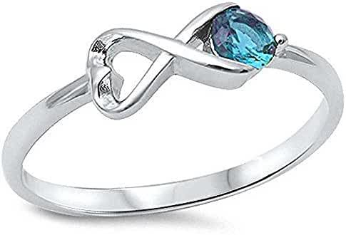Sterling Silver Simulated Aquamarine Infinity Ring Sizes 4-10