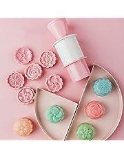 MoonCake Mould Press, runt bakverk mould kakor mould kaka form, 3D månkaka form kakskärare, kakskärare med 6 blommor mönster dekoration
