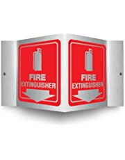 """Accuform PSM327 Projection Sign 3D, Legend""""FIRE Extinguisher (Arrow)"""", 6"""" x 5"""" Panel, 0.025"""" Thick Brushed Aluminum, Pre-Drilled Mounting Holes, Red on Brushed Aluminum"""