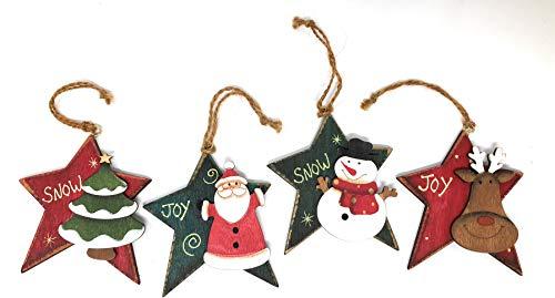 Hanna's Handiworks Wooden Star Christmas Ornaments Vintage Look Hanging Ornaments Santa Snowman Reindeer and Tree (Set of ()