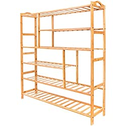 New Bamboo Shoe Boot Shelf Holder Storage Rack Organizer Furniture Entryway 6 Tiers