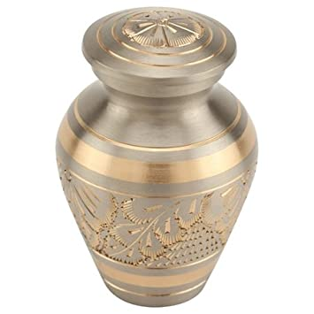 Silverlight Urns Platinum Elite Keepsake Urn for Ashes, Mini Silver and Gold Urn, 3 Inches High