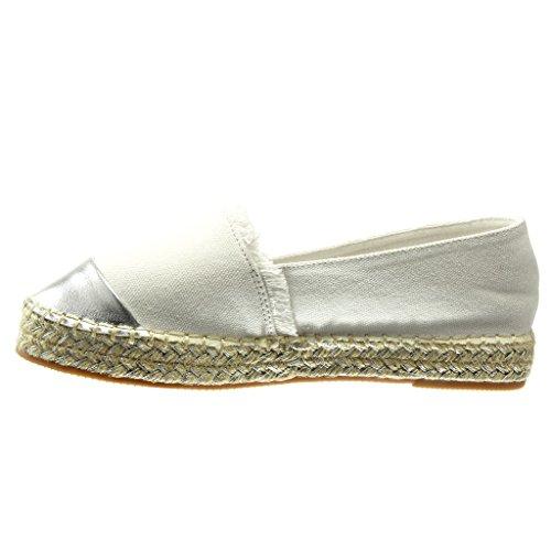 Angkorly - Chaussure Mode Espadrille bi-matière slip-on femme brillant frange Talon plat 2.5 CM - Blanc
