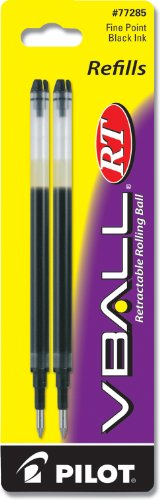 - Pilot VBall RT Liquid Ink Refill, 2-Pack for Retractable Rolling Ball Pens, Fine Point, Black Ink (77285)