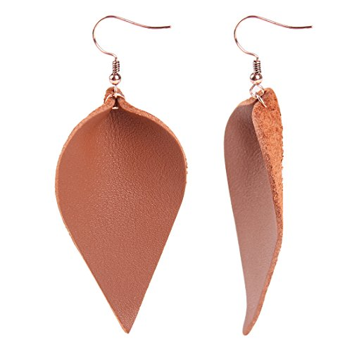 YOUTH UNION Vintage Genuine Leather Teardrop Leaf Earrings Dangle Pierced Earrings Jewelry for Women Girls (Brown)
