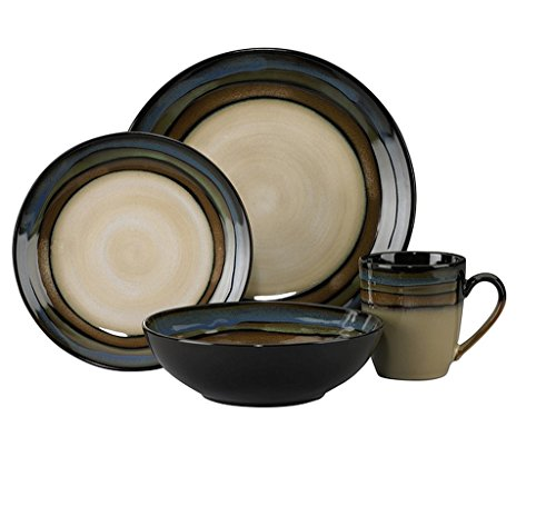 16-Piece Stoneware Green/Blue/Beige Stripe Dinnerware Set, Microwave And Dishwasher Safe