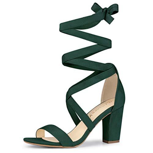 Allegra K Women's Crisscross Lace Up Mid Block Heels Green Sandals - 6.5 M US ()