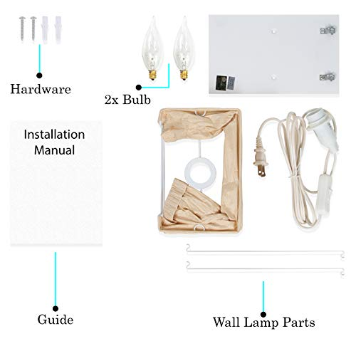 Wallniture Asian Wall Lamp with Toggle Switch Handmade Rice Paper Cream 2 25 Watt Chandelier Bulb Included by Wallniture (Image #5)