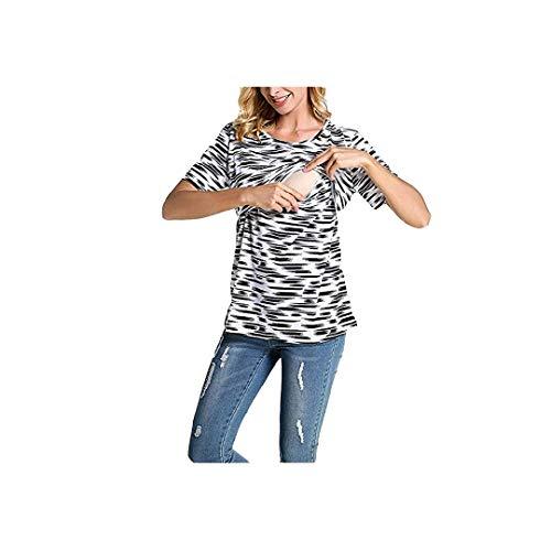 (Toponly Breastfeeding T Shirt, Women's Short Sleeve Flower Tops Tee Nursing Maternity Clothes Black)