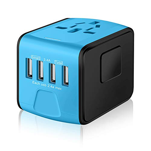 (SAUNORCH Universal International Travel Power Adapter W/Smart High Speed 2.4A 4xUSB Wall Charger, European Adapter, Worldwide AC Outlet Plugs Adapters for Europe, UK, US, AU, Asia-Blue)