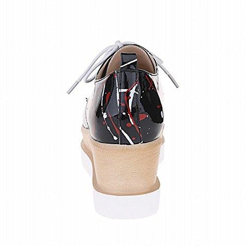 Carolbar Dames Doodle Print Lace Up Lakleer Mode Casual Sleehak Oxfords Schoenen Zwart