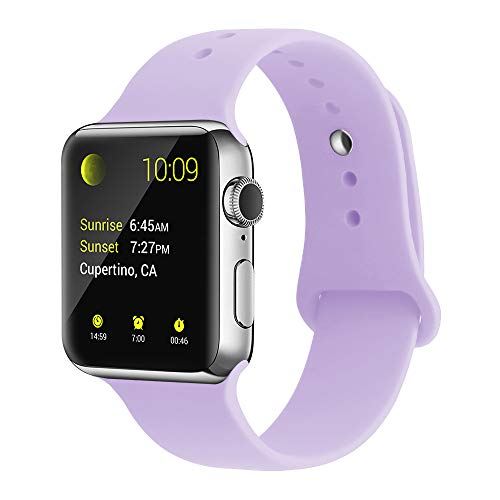 Lavender Apple - YunTree Compatible with Apple Watch Band 38mm/40mm S/M Size iWatch Sports Band Replacement for Women Man Apple Watch Series 4/3/2/1 Size Comfortable Silicone Strap-Lavender