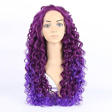 hjl de 20inch wellenförmige pelucas de pelo Lila peluca geschweiften baratas pelucas Lace frontal Wig,