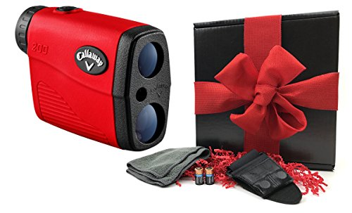 Callaway 200 (Red) Golf Rangefinder GIFT BOX Bundle | Includes Compact Golf Laser Rangefinder, Callaway Carry Case, Magnetic Cart Mount, PlayBetter Microfiber Towel, Two (2) CR2 Batteries | Gift (Golf Tournament Packages)