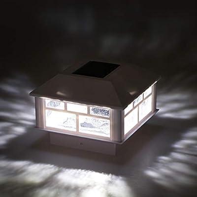 GreenLighting 12 Pack Modern Design Solar Powered 5 Lumen Post Cap Light for 4x4 or 5x5 Posts (White)