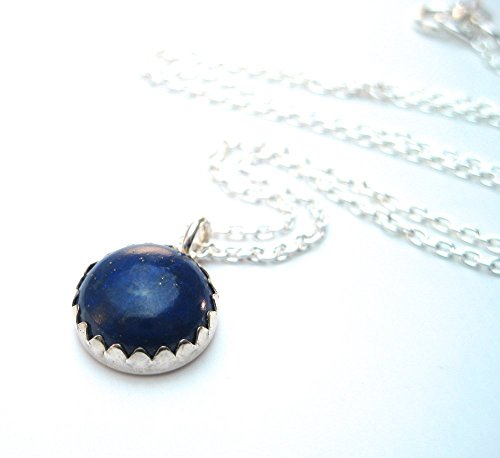Blue Lapis Necklace Denim Pendant Gemstone Necklace 10mm