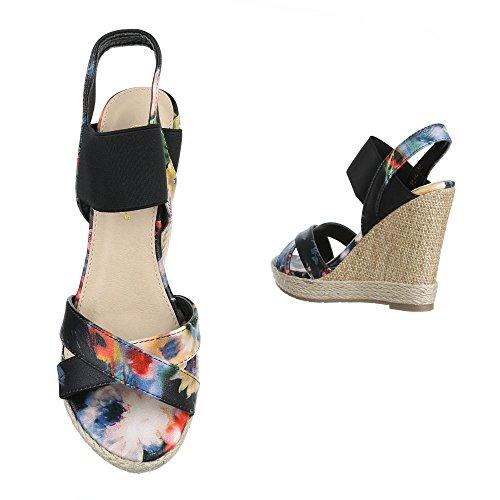 femme compensées Design Schwarz Ital chaussures AqS8f0x