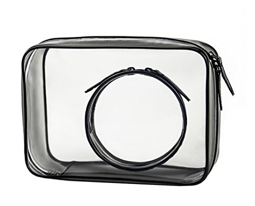 Vigourtrader Clear Plastic Cosmetic Bag 2 Pack Poratble Size Double Zipper Travel Toiletry (Halloween Makeup Zipper)
