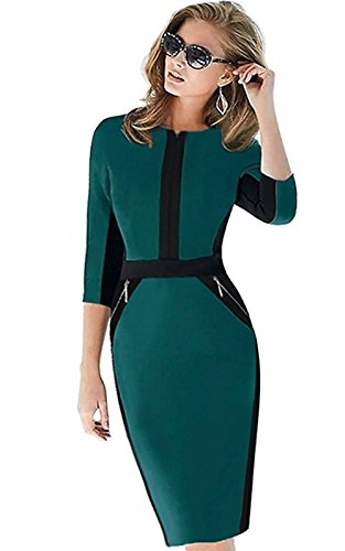 Babyonline Women's Stretch Tunic Pencil Sheath Dress 3/4 Sleeve office Business Dress by Babyonlinedress