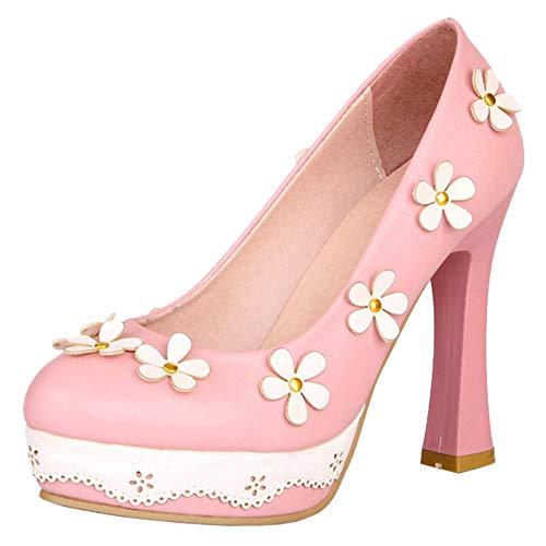 Rose Femmes Fleur Escarpins Mode Talon Plateforme Chaussures Taoffen 5AR34LjcSq