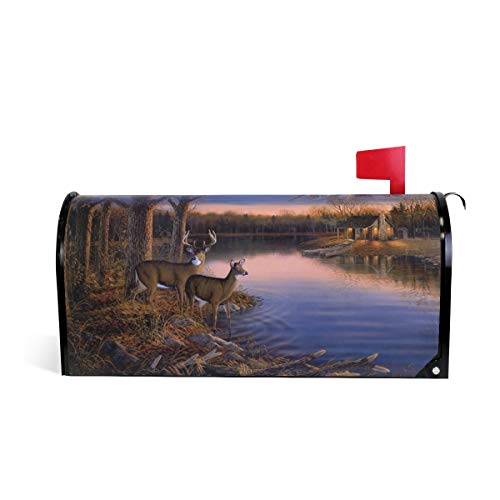 (Naanle Autmn Landscape Magnetic Mailbox Cover, Painting Art Animals Deer at Sunset Mailbox Wrap Home Decorative for Standard Size 20.8