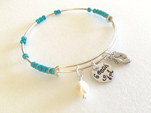 (Beach Girl Bracelet,Beach Girl Hand Stamped Bangle Bracelet, Adjustable Charm Bracelet, Freshwater Pearl And Barefoot Charm Bangle.)