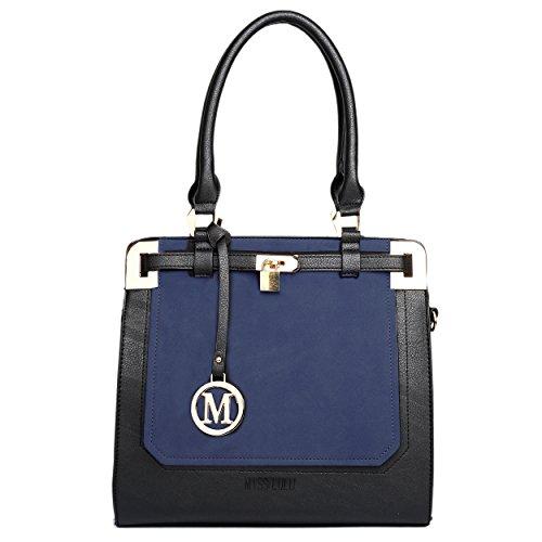 Damen Handtasche Tote Bag Mode- Stil Ledertasche Shopper Umhängetaschen (1607-Blau/Schwarz) 1607-Blau/Schwarz ukC85
