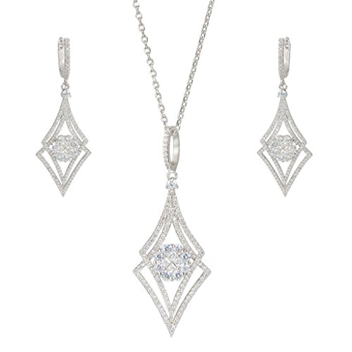 EVER FAITH Silver-Tone Zircon Elegant Double Rhombus Shaped Pendant Necklace Earrings Set Clear by EVER FAITH (Image #6)'