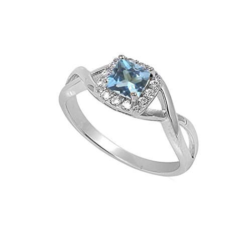 Solitaire Infinity Shank Ring Simulated Aquamarine Princess Cut 925 Sterling Silver,Size-7