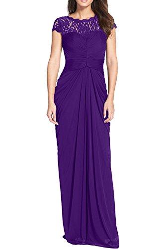 Violett Festkleider Abendkleider Chiffon Rund Partykleider 2017 Spitze Damen Ivydressing Lang zT6w77