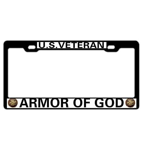 US Veteran Armor of GOD Black Aluminum Metal License Plate Frame for US Veteran, Custom Military Car License Plate Cover Holder for US Vehicles, 2 Holes and Screws