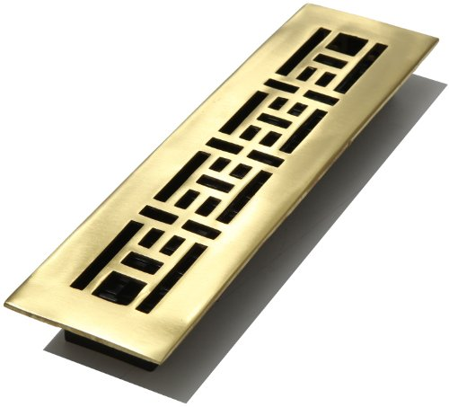 - Decor Grates AJ212-SB 2-Inch by 12-Inch Oriental Floor Register, Solid Brass with Satin Brass Finish