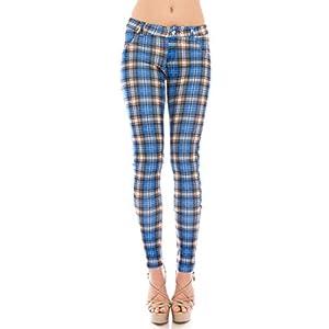 VIRGIN ONLY Women's Plaid Scuba Jeans
