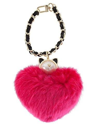 Betsey Johnson Pearl Dangle Faux Fur Charm Key Chain - (Betsey Cat Shoe)
