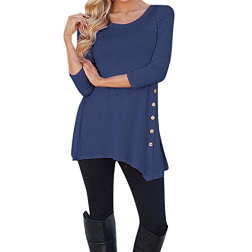 Women Blouse HGWXX7 Long Sleeve Plus Irregular Loose Button Trim Solid Color Round Neck Tunic T-Shirt Blouse Size S~XXXXXXL (S, Dark Blue)