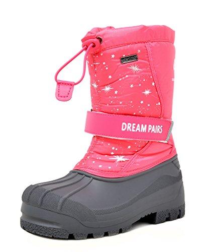Boots Big Feet - DREAM PAIRS Big Kid Kamick Fuchsia Mid Calf Waterproof Winter Snow Boots Size 4 M US Big Kid