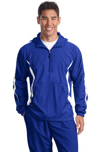 Sport-Tek Men's Colorblock Raglan Anorak - True Royal/White JST63 XL Sport Tek Colorblock Anorak