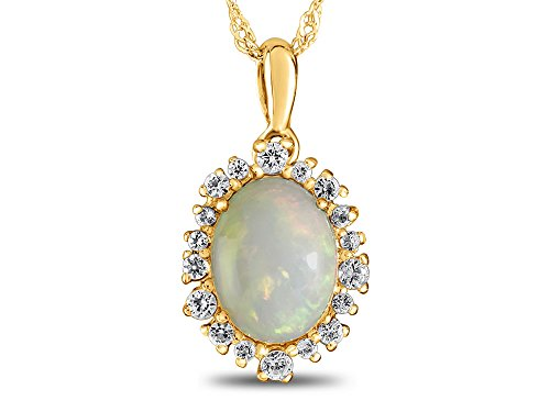 low Gold Oval Opal with White Topaz accent stones Halo Pendant Necklace (10k Gold Oval Pendant)