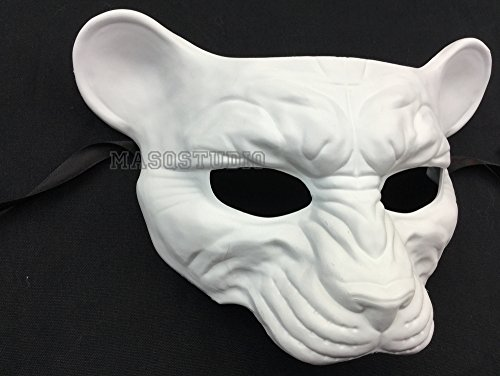 Halloween Masquerade Leopard Mask Animal Cosplay Haunted House Costume Party Wear or Deco (White)]()